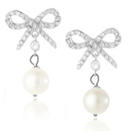 Sterling Silver .925 CZ Bow Pearl Drop Earrings