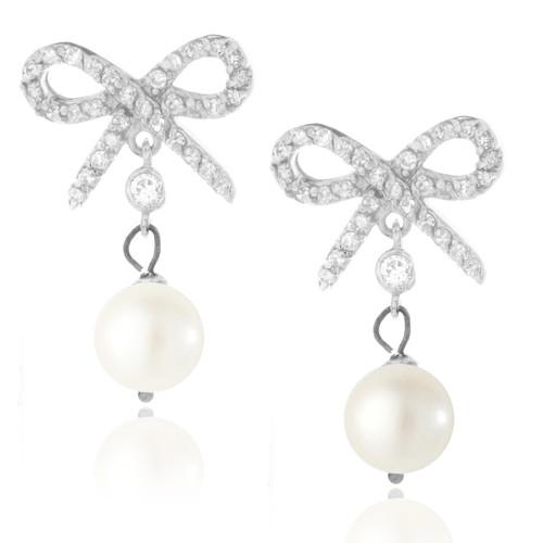 Sterling Silver .925 CZ Bow Pearl Drop Earrings