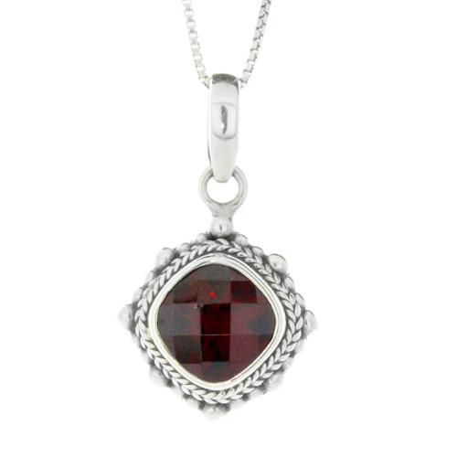Sterling Silver Bali Garnet Pendant Necklace