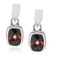 Sterling Silver Garnet Gemstone Rectangle Drop Earrings