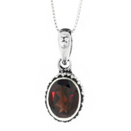 Sterling Silver Bali Garnet Filigree Pendant Necklace
