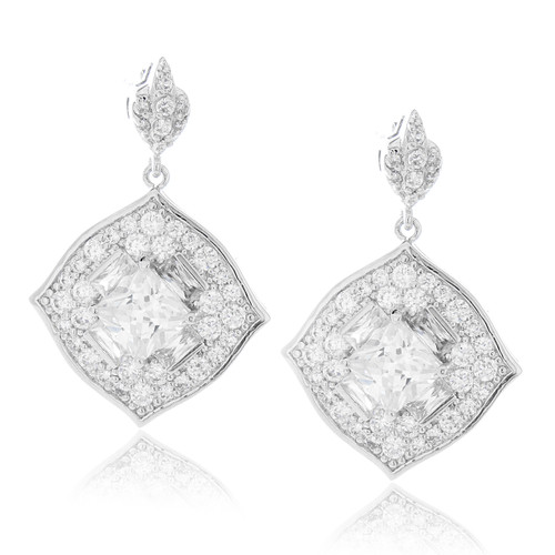 Diamond-shape CZ Drop Earrings in Brass