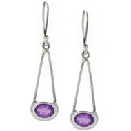 Oval Amethyst Silver .925 Drop Earrings