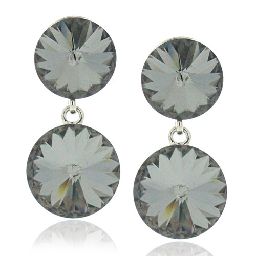 Double Round Drop Earrings Made with Silver Night Crystal from Swarovski