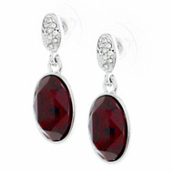 Oval Drop Earrings  Made with Red Siam Crystal from Swarovski