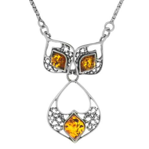 Sterling Silver .925 Amber Filigree Necklace 18""