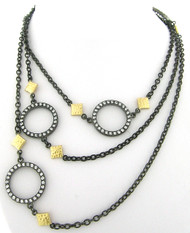 Round Stations with Czs and Gold Tone Accents Long Necklace in Brass