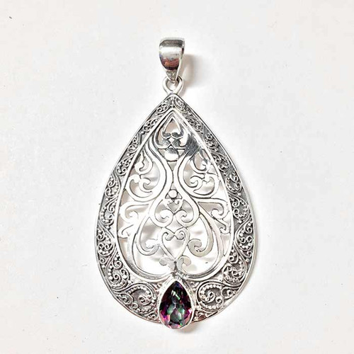 Pear Shape Sterling Silver Filigree Pendant with Mystic Quartz