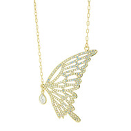 Gold Plated Butterfly Necklace with Swarovski Elements in Brass