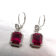 Sterling Silver Simulated Ruby and Cubic Zirconia Drop Halo Design Earrings