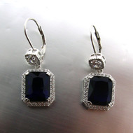 Sterling Silver Simulated Sapphire and Cubic Zirconia Drop Halo Design Earrings