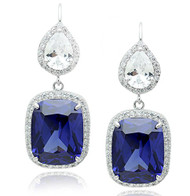 Sterling Silver Emerald Cut Simulated Tanzanite and Cubic Zirconia Drop Halo Design Earrings