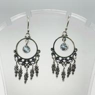 Sterling Silver Dream Catcher Earrings Round Blue Topaz