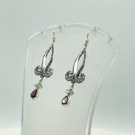 Sterling Silver Dangle and Drop Garnet Earrings