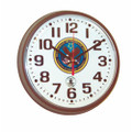"Atomic Slimline Wall Clock - 9 1/4"" Diameter, Brown, with Logo, NSN 6645-01-491-9828"