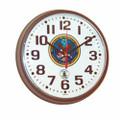 "Atomic Slimline Wall Clock - 9 1/4"" Diameter, Brown, with Logo, NSN 6645-01-491-9828"