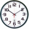 "Atomic Slimline Wall Clock - 12 3/4"" Diameter, Black, NSN 6645-01-491-9814"