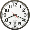 "Atomic Slimline Wall Clock - 9 1/4"" Diameter, Brown, NSN 6645-01-491-9808"