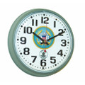 "Atomic Slimline Workstation Clock - 7.35"" Diameter,  Stone Gray, with Logo, NSN 6645-01-491-9819"