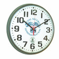 "Atomic Slimline Wall Clock - 12 3/4"" Diameter, Brown, with Logo, NSN 6645-01-492-9821"