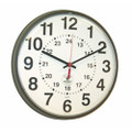 "Atomic 12/24 Hour Slimline Wall Clock - 12 3/4""  Diameter, Brown, NSN 6645-01-491-9832"