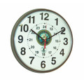 "Atomic 12/24 Hour Slimline Wall Clock - 12 3/4"" Diameter, with Logo, Brown, NSN 6645-01-492-0378"