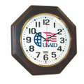 "Hardwood Wall Clock - Octagon - 12"" Diameter, with Logo, Mahogany, NSN 6645-01-491-9835"