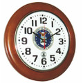 "Hardwood Atomic Clock - 12"" Diameter, with Logo, Honey Oak, NSN 6645-01-499-0892"