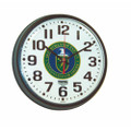 "Slimline Wall Clock - 9 1/4"" Diameter, with Logo,  Black, NSN 6645-01-456-5006"