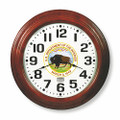 "Hardwood Wall Clock - 16"" Diameter, with Logo, Mahogany, NSN 6645-01-456-6019"