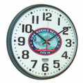"Slimline Wall Clock - 12 3/4"" Diameter, with Logo,  Black, NSN 6645-01-456-6026"