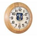 "Hardwood Wall Clock - 16"" Diameter, with Logo, Light Oak, NSN 6645-01-467-8476"