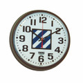 "Slimline Wall Clock - 9 1/4"" Diameter, with Logo, Brown, NSN 6645-01-456-5008"