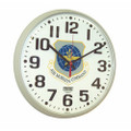 "Slimline Wall Clock - 12 3/4"" Diameter, with Logo, Taupe, NSN 6645-01-456-6024"