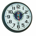 "Atomic Slimline Wall Clock - 9 1/4"" Diameter, Black, with Logo, NSN 6645-01-491-9831"