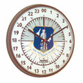 "24 Hour Slimline Wall  Clock-12 3/4"" Diameter, w/ Logo, Brown Case, NSN 6645-01-456-6025"