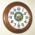 "Hardwood Atomic Clock - 16"" Diameter, with Logo, Walnut, NSN 6645-01-491-9822"