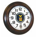 "Hardwood Wall Clock - 16"" Diameter, with Logo, Walnut, NSN 6645-01-456-6023"