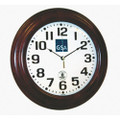 "Hardwood Atomic Clock - 16"" Diameter, with Logo, Mahogany, NSN 6645-01-491-9823"