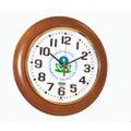 "Hardwood Wall Clock - Round - 12"" Diameter, with Logo, Honey Oak, NSN 6645-01-499-0894"