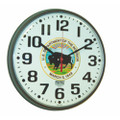 "Slimline Wall Clock - 12 3/4"" Diameter, with Logo, Brown, NSN 6645-01-456-6018"