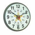 "12/24 Hour Slimline Wall Clock - 12 3/4"" Diameter, Brown, with Logo, NSN 6645-01-456-6020"