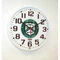 "Slimline Wall Clock - 12 3/4"" Diameter, with Logo, White, NSN 6645-01-456-6021"