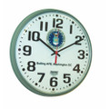 "Slimline Wall Clock - 12 3/4"" Diameter, with Logo, Stone Gray, NSN 6645-01-456-6022"