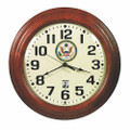 "SelfSet Wall Clocks - 16"" Diameter, with Custom Logo, Mahogany, NSN 6645-01-557-4605"