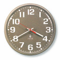 "Slimline Workstation Clock - 7.35"" Diameter, White Numbers, Taupe Case, NSN 6645-01-421-6900"