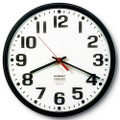 "Slimline Wall Clock - 12 3/4"" Diameter, Black Case, NSN 6645-01-389-7944"