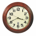 "SelfSet Wall Clocks - 12 3/4"" Diameter, with Custom Logo, Brown, NSN 6645-01-557-8131"