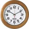 "Hardwood Wall Clock - Round - 12"" Diameter, Honey Oak, NSN 6645-01-499-0896"