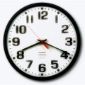 "Slimline Wall Clock - 9 1/4"" Diameter, Black, NSN 6645-01-389-7958"